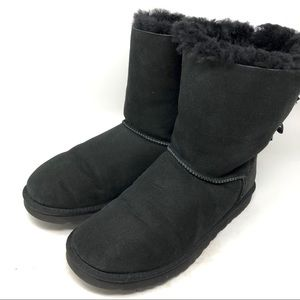 Ugg Bailey Bow Sheepskin Black Boots Size 10